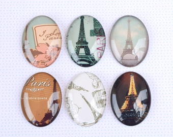 SET of 6 30x40mm Oval Domed Glass Cabochons For Necklace Pendant Cameo With Images Of The Paris Eiffel Tower Jewellery Art Print Under Glass