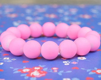 Neon Pink Rubberized Bead Bracelet Bright Pink Matte Rubber Bead Bracelet