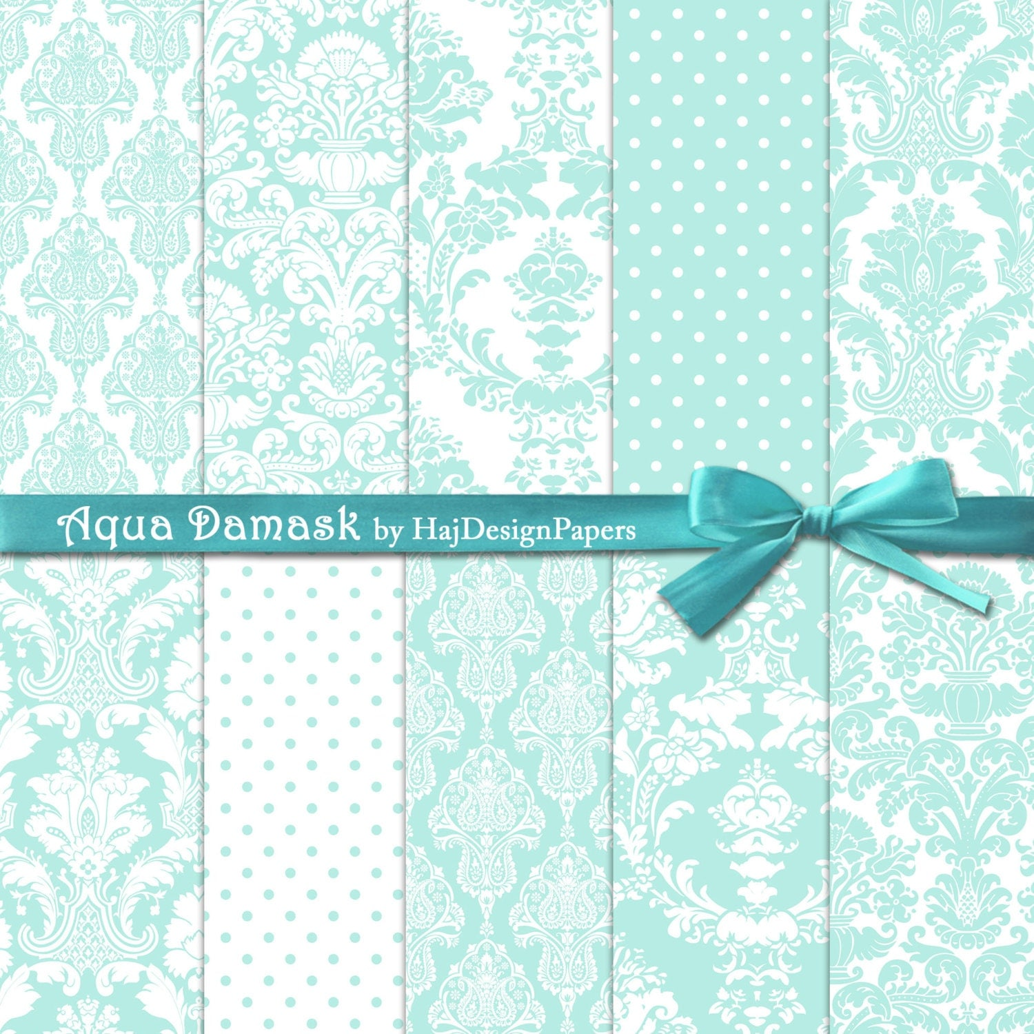 Aqua Damask - Instant Download, Digital damask paper ...