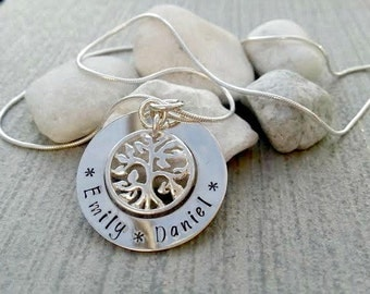 Family tree necklace, sterling silver, personalised, hand stamped, tree of life
