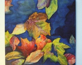 Leaf Art Tile Hangable Wall Art Watercolor Fall Art