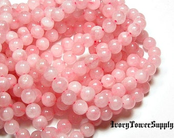 1 Strand 8mm Rose Quartz Beads, Natural Stone Beads, Pink Beads, Semi Precious Beads, Gemstone Beads, Round Beads