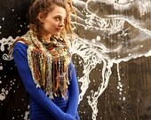 Hello Seattle - Handwoven Kercheif Scarf - Handspun and Hand Dyed Plaid - With FRINGE