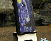 Samsung Galaxy S series and Note Phone Wallet Folio Case - Doctor Who Tardis Police Call Box Van Gogh Painting