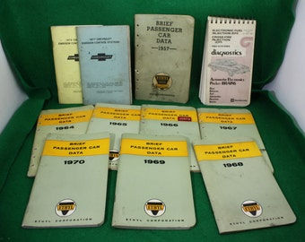 Vintage Lot Set (11) of Ethyl Brief Passenger Car Data and Fuel Injection EFI , CFI Diagnostics and Chevrolet Emissions Control Systems