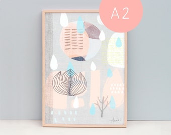 """A2 (16.5 x 23.4 """") Art Print,  Collage 58 - Natural Elements, Peach and Blue Raindrops"""