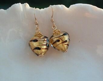 Venetian Murano Glass Animal Print Earrings