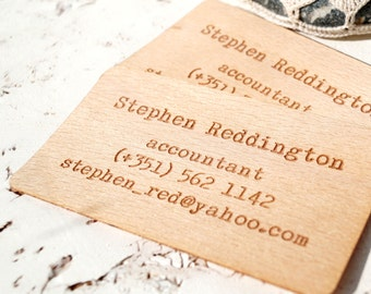 Wooden Business Cards, Engraved Wooden Veneer Business Cards, Wooden Cards