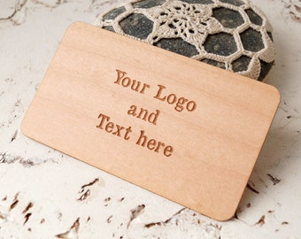 Veneer business cards, laser engraved wooden veneer business cards, custom logo and text business cards, maple wood