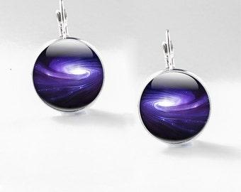 Space earrings, Milky Way Earrings - Galaxy jewellery, Space Drop Earrings - Space Earrings Glass - Galaxy Earrings (Space earrings 24)