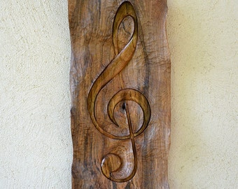 Wood carving, Treble clef in walnut wood