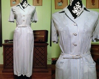 Vintage 1940s Blue and White Striped Wiggle Dress