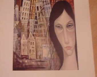 Margaret Keane Vintage Lithograph Print DESTINY + FREE PRINT Retro Goth Mod Art 1960's Big Eyes