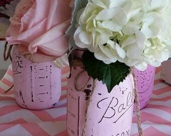 Mason Jar Set of 3, Wedding,Mason Jars, Painted Mason Jars, Vases, Distressed jars, Wedding Centerpiece, Canning jars