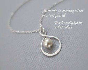 Swarovski Pearl and Sterling Silver Infinity Pendant on Sterling Silver Necklace Chain, Sterling Silver Infinity Necklace
