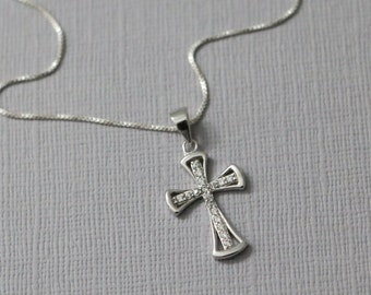 Cross Necklace, Sterling Silver Cross Necklace, Christmas Necklace, Christmas Gift, Baptism Gift, Christening Gift, Cross Necklace Women