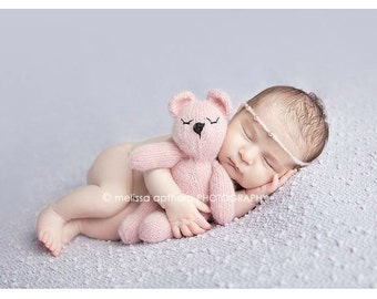 Mohair Knit Snuggle Bear ~ Teddy Bear ~ Newborn Photo Prop