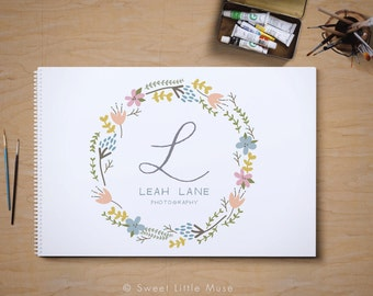 Photography Logo - hand drawn logo - wreath logo - floral logo - monogram logo