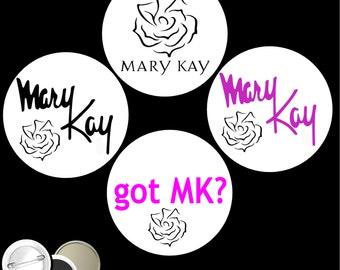 """Mary Kay Set of 4 PINBACK BUTTONS or magnets or mirrors I'm the sales promotional advertising pins badges 1.25"""" or 2.25"""" E14"""