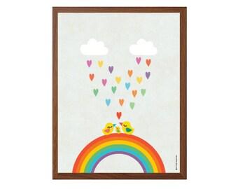 FAMILY   Birds On Rainbow Poster : Modern Illustration Nursery Art Wall Decor Print 8 x 10   INSTANT Digital Download Printable