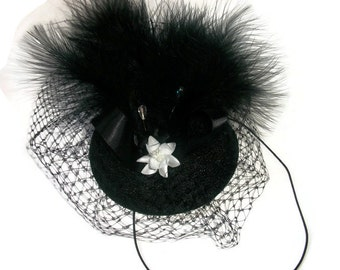Black veil fascinator headpiece occasion hat