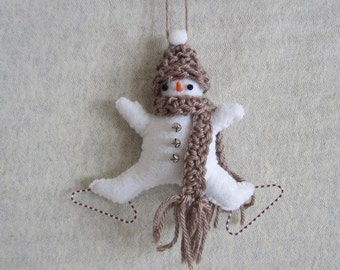 Felt  Skating Snowman Ornament