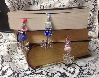 Unique beaded ribbon bookmark--snowflake