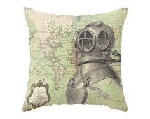 Deep Sea Diver and Vintage Nautical Map / 2 Styles /  Accent Pillow Cover - Throw Pillows - Decorative Pillows