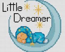 Little Dreamer Blue Cross-Stitch Pattern - Cross Stitch PDF - Instant Download