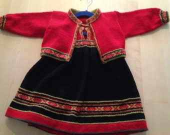 Norwegian Bunad for Girl 1 yr - Knitted