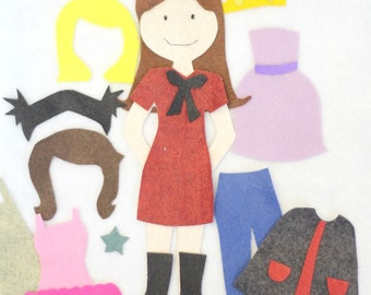 Felt doll pattern etsy felt doll dress up patterninstant download pronofoot35fo Choice Image