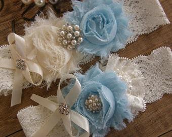 Something Blue / Ivory & Light  Blue Wedding Garters / Garter / Bridal Garter / Toss Garter / Vintage Inspired / Garter Set