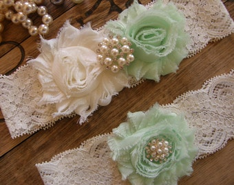Garter / Wedding Garters / Lace Garter / Mint / Ivory / Bridal Garter / Toss Garter / Vintage Inspired