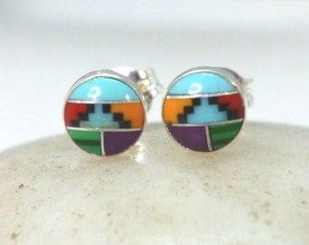 Southwest Inlay Silver Stud Earrings 5mm .. Southwest Studs .. Southwest Earrings .. Turquoise .. Malachite .. Coral .. Handmade Jewelry