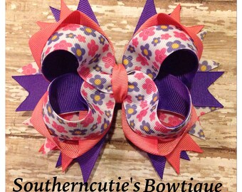 Pink Flower Stacked Bow