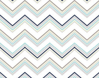 Riley Blake Ashbury Heights Chevron C3345 Aqua, Navy, White- 1/2 yard