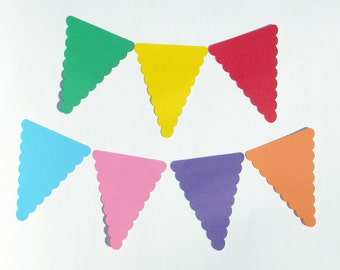 "Triangle Pennant die cuts/ banner die cuts/ scalloped edge pennant/ size from 1.5"" to 8"" tall/ chose your color"