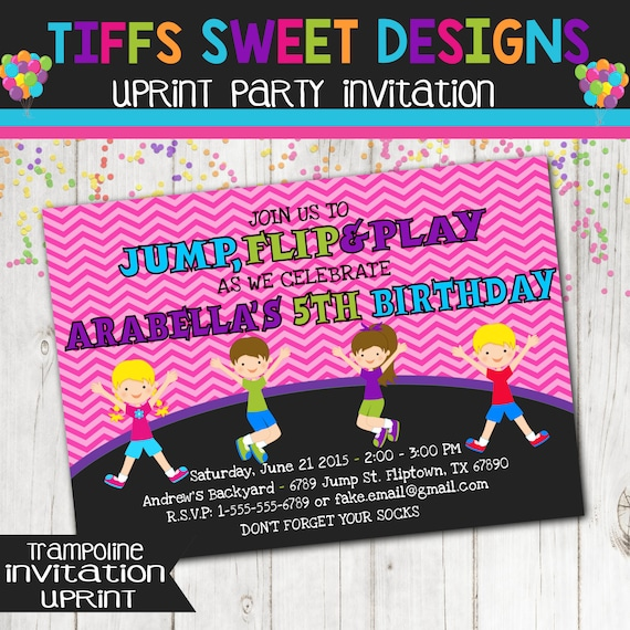 Trampoline Party Invitations: Trampoline Invitation Jump Birthday Invitation Girl