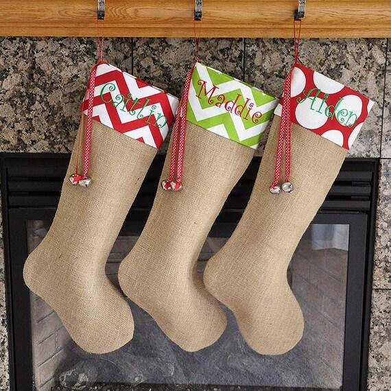 Burlap stocking burlap christmas stocking choose your cuff fabrics