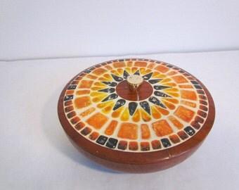 Vintage Fricke And Nacke Tin Atomic Design Decorative Woodgrain And Mosaic Sunburst Pattern