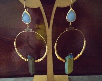 Rainbow Quartz Dangle Hoop Earrings