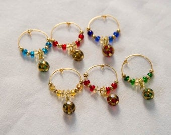 6 Small Ornament Wine Charms