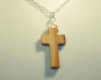 Christian Holy Land Olive Wood Cross Pendant From Jerusalem - Specify Chain Length When Ordering, 18,20,22 Inch S. P. Chain - FREE SHIPPING.