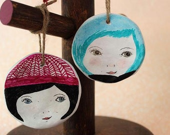 Wall Hangings. Hanging Hatties. Girl Faces, Winter Knits. 2 Styles. Hand drawn and unique.