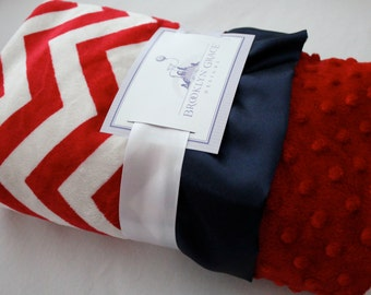 Red and White Chevron with Solid Red Dimple Dot Minky -  Navy Satin Trim Minky Baby Blanket, Baby Girl or Boy, Nautical, Patriotic