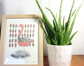 Flamingo - framed illustration