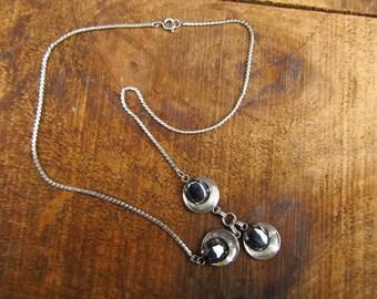 Vintage Van Dell Sterling Silver Necklace - Van Dell Sterling and Hematite Necklace