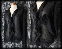 Gothic Black Sheer Crinkle Frilled ABSOLUTION Blouse 14 16 Vintage Victorian