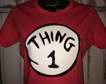Thing 1 Glitter Ladies Shirt