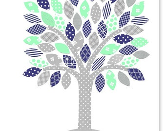 Tree Nursery Art Mint Gray Navy Nursery Decor Baby Girl's Room Wall Art Print Baby Shower Gift Playroom Toddler Canvas or Paper Print Kids